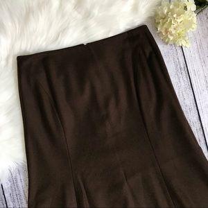 TALBOTS Chocolate Brown Fluted Midi Skirt 00791